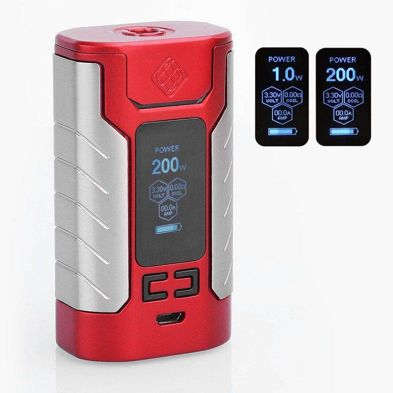 authentic-wismec-sinuous-fj200-200w-4600mah-tc-vw-variable-wattage-box-mod-red-zinc-alloy-1200w